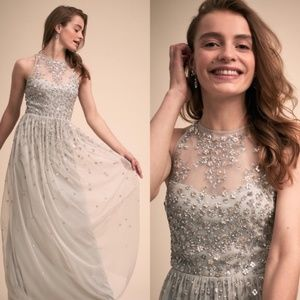 Anthropologie BHLDN Embellished Ginny Grey Gown 18